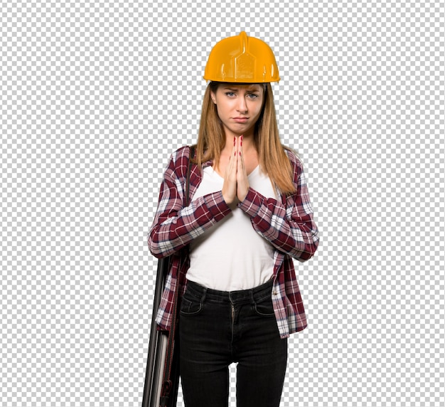 Architect woman keeps palm together. person asks for something