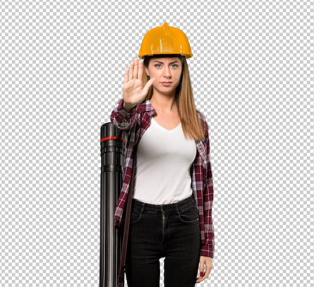 Architect woman making stop gesture denying a situation that thinks wrong