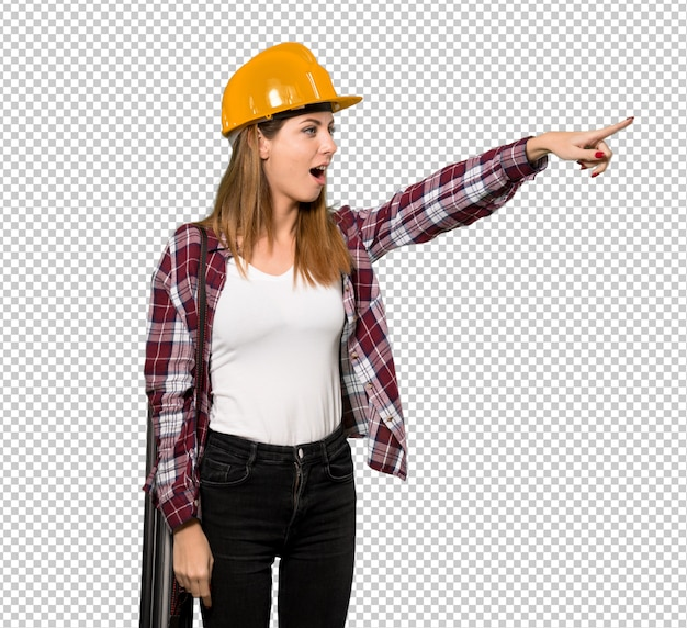 Architect woman pointing away