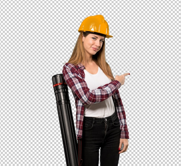 Architect woman pointing back