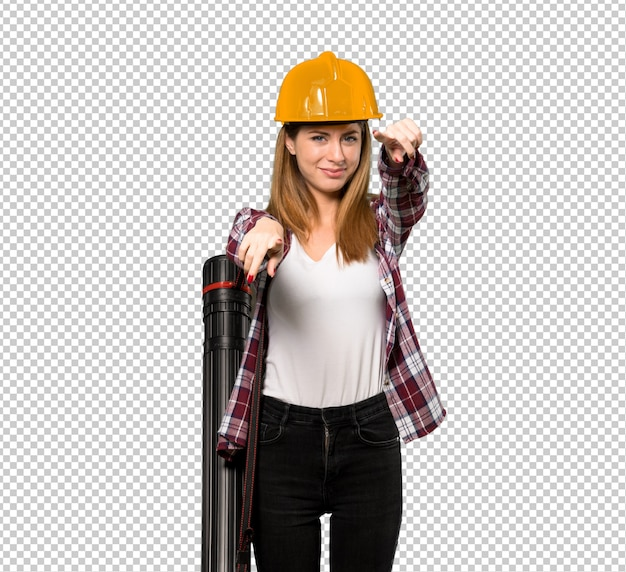 Architect woman points finger at you while smiling