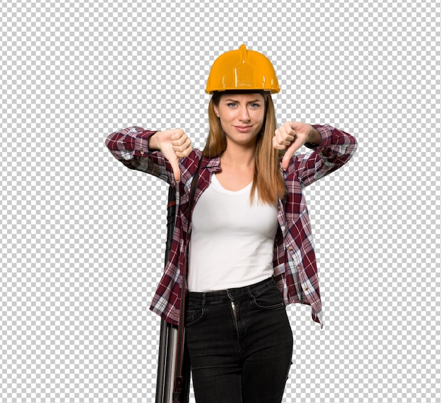 Architect woman showing thumb down