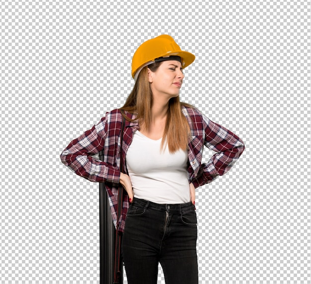 Architect woman suffering from backache for having made an effort