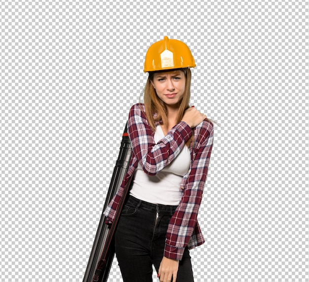 Architect woman suffering from pain in shoulder for having made an effort