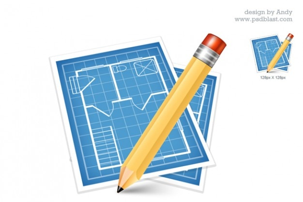 Architectural blue print icon  psd
