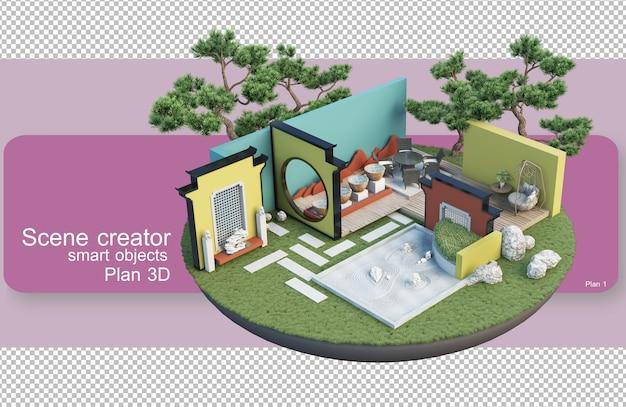 Архитектурная иллюстрация образца вырезания с внутренними работами
