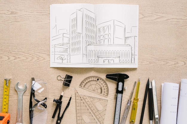 Architecture composition with paper mockup