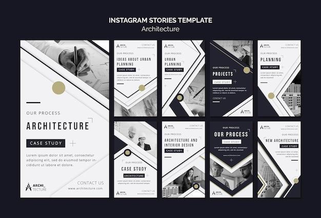 Шаблон историй instagram концепции архитектуры Premium Psd