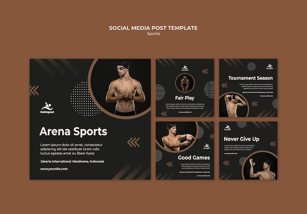 Arena swimming sport social media template