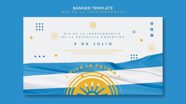 Argentina independence day banner template