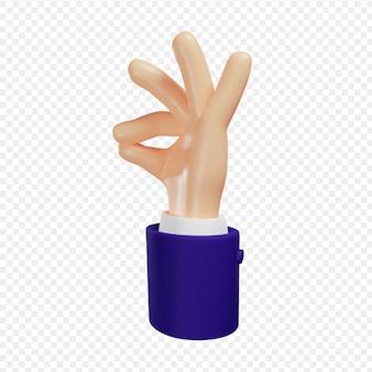 Пальцы руки показывают гурманский жест изысканной еды вкус изолированной 3d иллюстрации