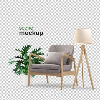 Кресло и макет завода 3d-рендеринга
