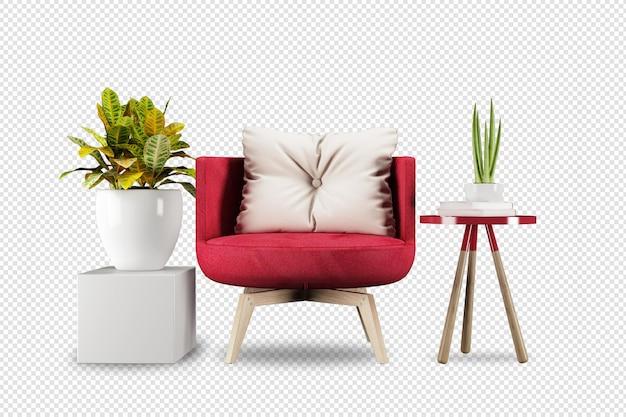 3d 렌더링의 안락 의자 및 식물 모형