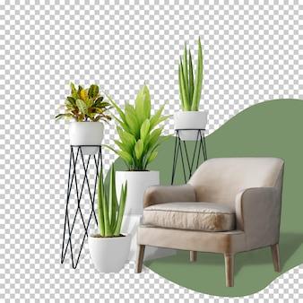 Кресло и макет растений 3d-рендеринга