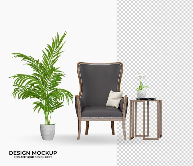 Кресло в рендеринге роскошного дизайна интерьера