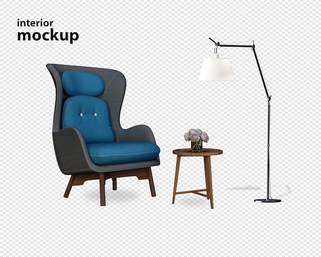 Armchair and modern funiture in 3d rendering