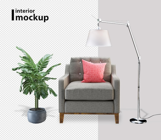 Armchair and plant in 3d rendering