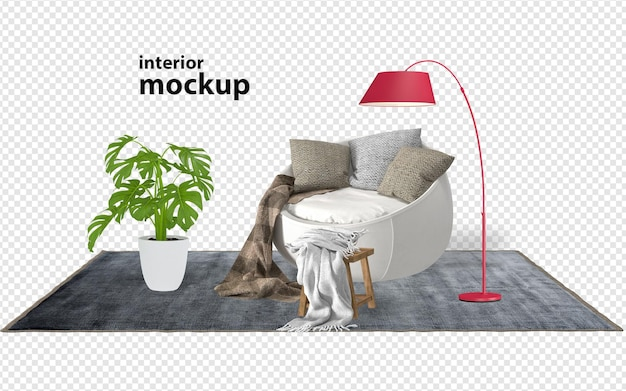 Armchair and plant mockup 3d rendering isolated
