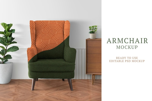 Armchair sofa mockup psd with abstract pattern in the living room
