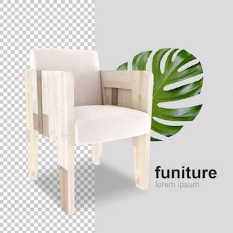 Кресло с листом монстера в 3d-рендеринге
