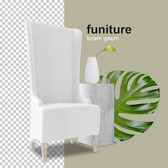 Кресло с листом монстера в 3d-рендеринге Premium Psd