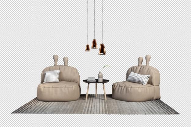 Кресла в горшках в 3d визуализации