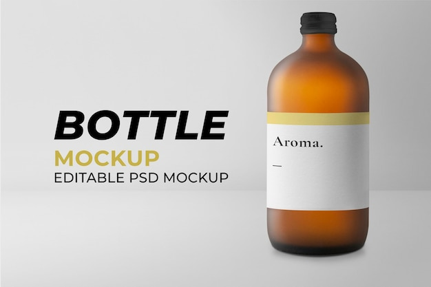 Aroma glass bottle mockup psd therapeutic product packaging