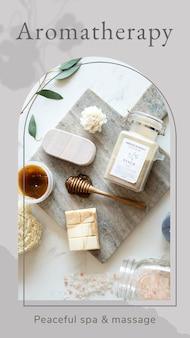 Modello di benessere di aromaterapia psd/vettore con sfondo di prodotti per la cura del corpo spa