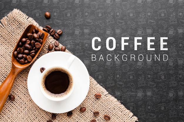 Aromatic coffee with coffee beans background