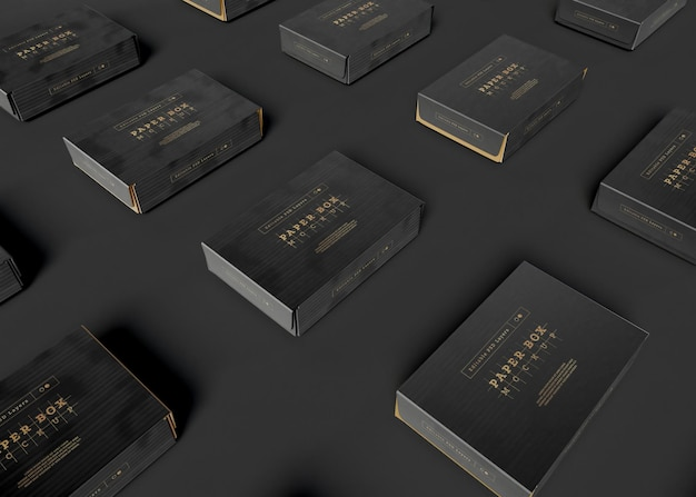 Мокап организованных бумажных коробок