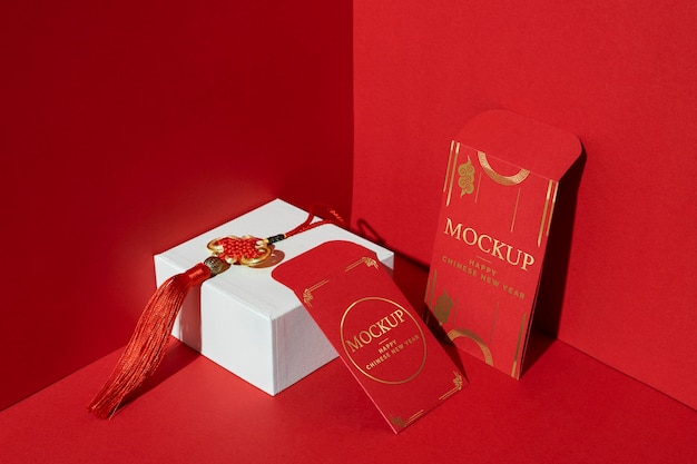 Arrangement of chinese new year mock-up elements