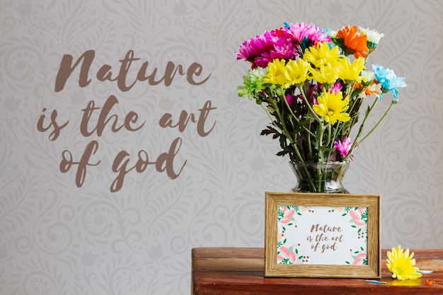 Arrangement of colorful flowers concept