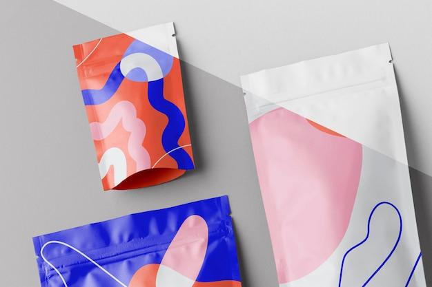 Arrangement of colorful mock-up doypack