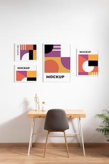 Arrangement of decorative mock-up frames