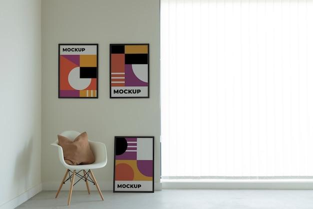 Disposizione di cornici decorative mock-up Psd Gratuite