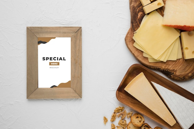Arrangement of delicious foods with frame mock-up