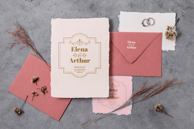 Arrangement of elegant wedding mock-up cards
