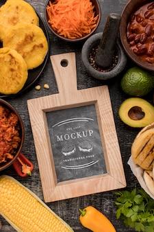 Disposizione del cibo mock-up piatto lay