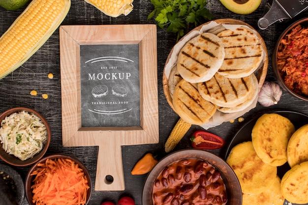 Arrangement of food mock-up top view