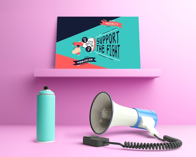 Arrangement for girl power concept with graffiti spray