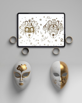 Arrangement of golden rings and masks