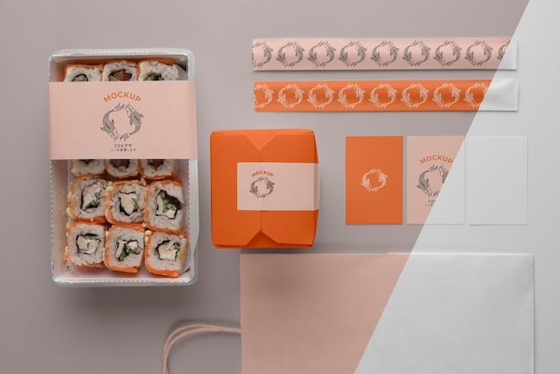 Arrangement of japanese fast food with mock-up packaging