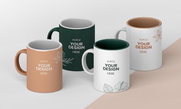 Arrangement of minimal coffee mugs