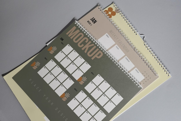 Arrangement of mock-up calendar indoors