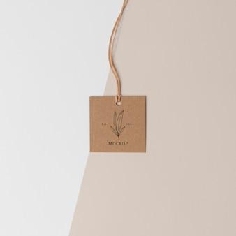 Arrangement of mock-up cardboard tag