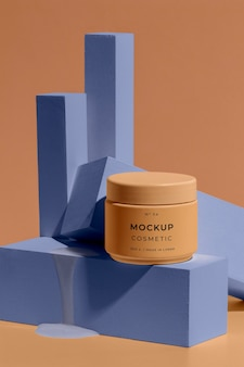 Arrangement of mock-up cosmetic with melting elements