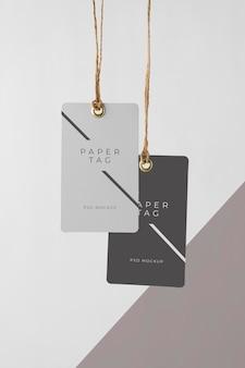 Arrangement of mock-up paper tags