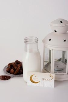Arrangement of mock-up ramadan business card