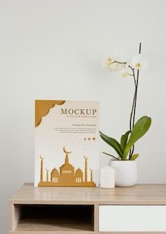 Disposizione della decorazione del ramadan mock-up