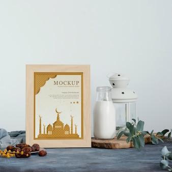 Disposizione della cornice di ramadan mock-up all'interno